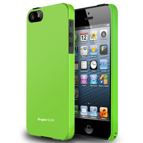LF Green - Apple iPhone 5 Ringke SLIM Light Feeling Premium Hard Case AT&T, Verizon, Sprint and Unlocked - Eco Package