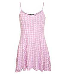 Pilot Bella Strappy Dog Tooth Print Swing Dress in Pale Pink