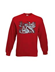 Christmas Snowman Sweatshirt Large Red