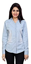Carrel Brand Imported Denim Fabric Stylish Full Sleeve Shirt Sky Blue Colour Women L Size.
