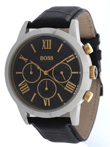 Hugo Boss  0 - Reloj de cuarzo para hombre, con correa de cuero, color negro