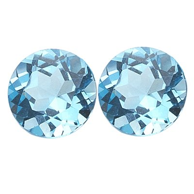5.95 Cts of AAA 9 mm Round Matching Loose Swiss Blue Topaz ( 2 pcs set ) Gemstones