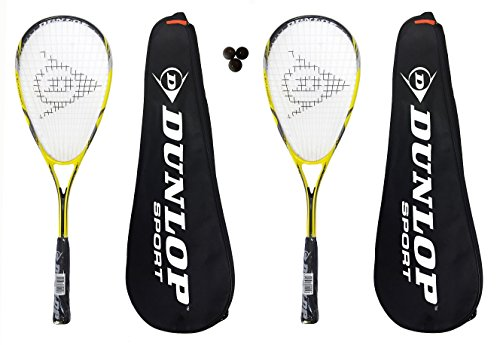 2 x Dunlop Nanomax Lite Squash Rackets + 3 Squash Balls and Covers RRP €180