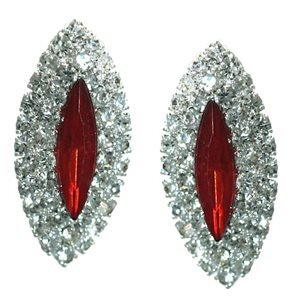 Yuridia Silver Ruby Crystal Clip On Earrings