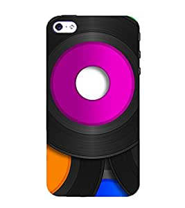 TRICOLOURED VINTAGE MUSIC RECORDS PATTERN 3D Hard Polycarbonate Designer Back Case Cover for Apple iPhone 4S