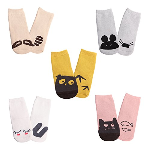 Meaiguo Anti Non Skid Slip Toddler Socks with Grips for Kids Boys Girls 5 Pack(Thick Small)