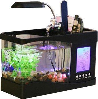 机の上で魚を飼おう♪ 卓上 ミニ 水族館 水槽 循環ポンプ ブラック