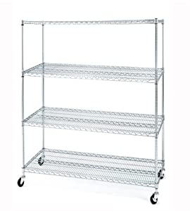 "Seville Classics 4-Shelf Shelving System with Wheels 60"" x 24"" x 72"", NSF Listed"