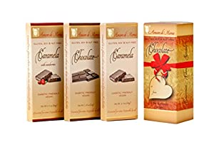 Amore di Mona Luxury Dark Chocolate & Caramela Gift Box: Vegan, Free of Gluten, Peanuts, Tree Nuts, Milk & Soy. All-natural, Allergen & Diabetic Friendly. (Amore Collection: Caramela/Dark Chocolate/Caramela with cranberries)