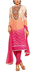 Sara Fashion Women's Georgette Unstitched Dress Material (Pink and Orange)
