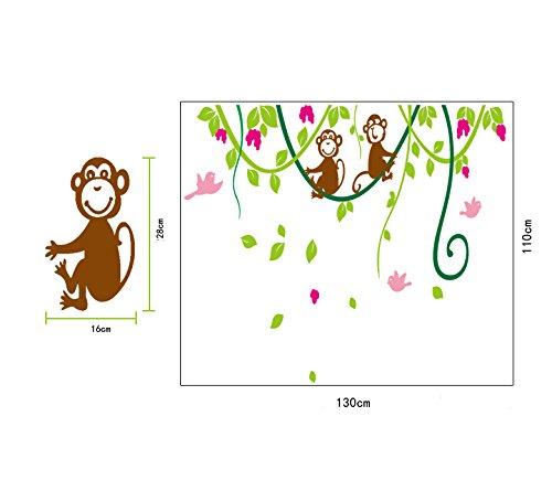 Ufengke grande albero vite verde e scimmie carino adesivi - Adesivi camera bimbi ...