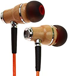 Symphonized NRG 2.0 Premium Genuine Wood In-ear Noise-isolating Headphones|Earbuds|Earphones with Innovative Shield Technology Cable and Mic (Orange)