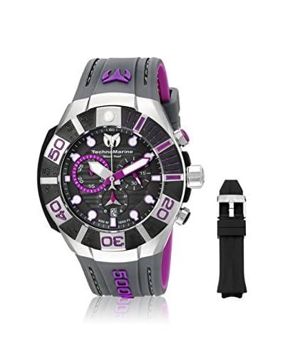 Technomarine Men's TM-515017 Black Reef Black, Black, Purple/Black Stainless Steel, Plastic Watch