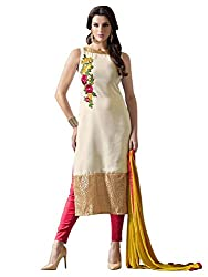 Whatshop Women's Georgette Off White Designer Dress Material