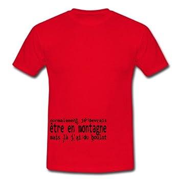 Spreadshirt, Je devrais être en montagne, Tee shirt classique Homme, rouge, S