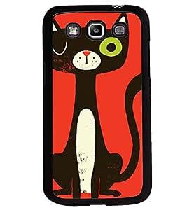 Printvisa Animated Black Cat Back Case Cover for Samsung Galaxy Quattro i8552::Samsung Galaxy Quattro Win i8552
