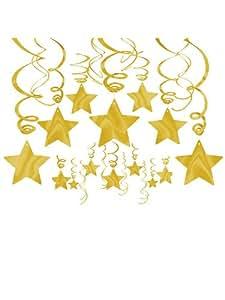 Amscan Gold Foil Star Hanging Decorations