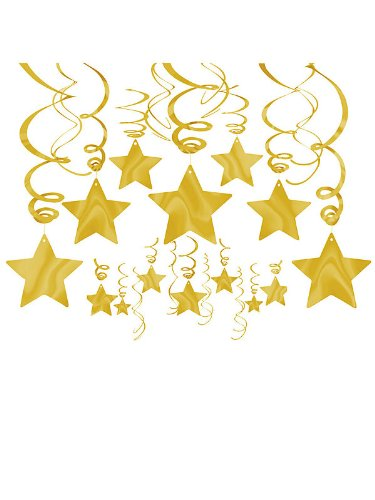 1 X Gold Foil Star Hanging Decorations (Each)