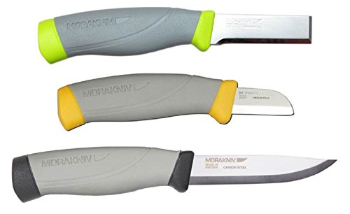 Bundle - 3 Items: Morakniv Craftline Highq Carpentry Chisel Carbon Steel Knife, Morakniv Craftline Highq Electrician Carbon Steel Knife, And Morakniv Craftline Highq Robust Carbon Steel Knife