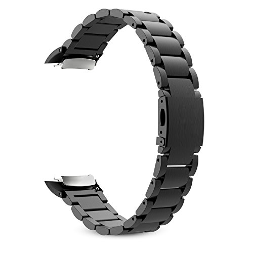 Samsung Gear Fit2 Watch Band, MoKo Universal Stainless Steel Watch Band Strap Bracelet + Connector for Samsung Gear Fit 2 SM-R360 Smart Watch (NOT FIT Gear S2 & S2 Classic), BLACK (Gear 2 Metal Band compare prices)