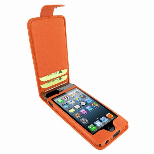 Special Sale Apple iPhone 5 / 5S Piel Frama Orange Leather Cover with Snap Closure