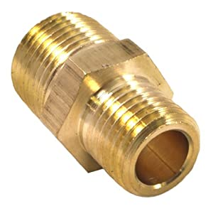 Brass Fitting, Reducer Adapter, 3/8-Inch Male NPT to 1/4-Inch Male NPT