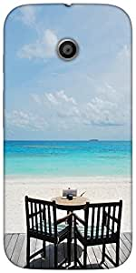 Snoogg beautiful beach bar view in maldives Hard Back Case Cover Shield For For Motorola E 2nd Generation / Moto E 2nd