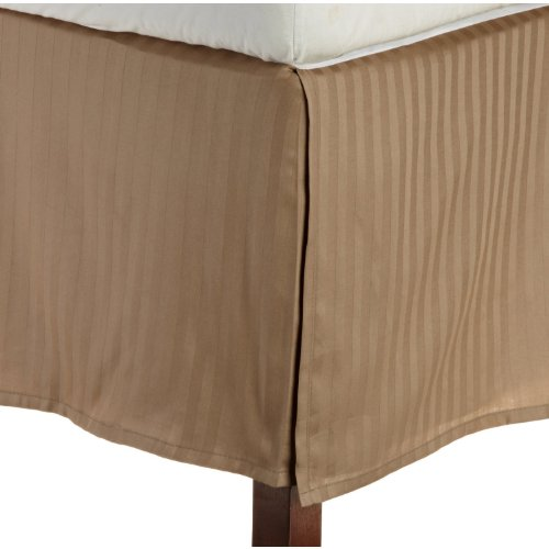 """Egyptian Quality Stripe Bed Skirt - Pleated Tailored 14"""" Drop - All Sizes And Colors , Full, Taupe front-974064"""