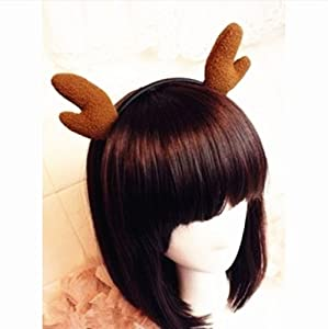 Soft 3d Deer Reindeer Ear Elk Antler Horn Animal Headband Hairband for Child Kid Adult Hair Band Party Costume Cosplay Masquerade Hair Accessory, Black Brown Dark Blue (Brown)