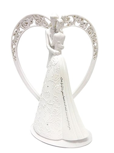 Heart Language of Love Bride and Groom White Wedding Cake Topper Figurine