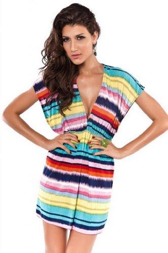 V-SOL Ropa De Baño/Beachwear/Bikini Para Mujer Vestido Verano En Playa Una Pieza Conjunto EU32-34 Raya Multicolor