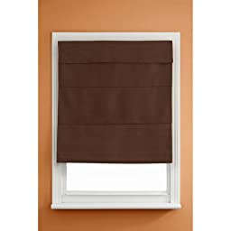 Kenney Cordless Thermal Blackout Roman Shade, Chocolate