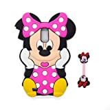 Euclid+ - Hot Pink Minnie Mouse Style Silicone Soft Case Cover for Samsung Galaxy S2 SII T-mobile SGH-T989 Epic Touch 4g D710 (Not for AT&T) with Minnie Mouse Style Cable Tie