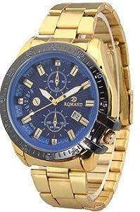 Fake Two Laps Calendar Stainless Steel Quartz Watch for Men Gold+Blue