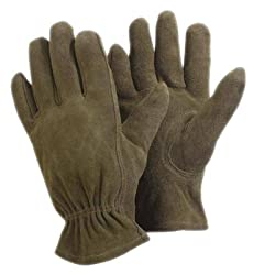 Briers Soft Washable Leather Gardening Gloves Olive Coloured, Medium