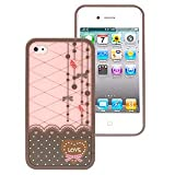 HM Polka Dot Pattern Hard Case with Red Heart Love Design for Apple Iphone 4s / 4 -At&t, Verizon, Sprint-Brown/Pink