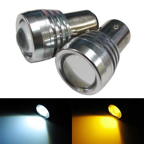 Ijdmtoy Super Bright White/Amber High Power 1157 2057 2357 7528 Switchback Led Bulbs For Turn Signal Lights