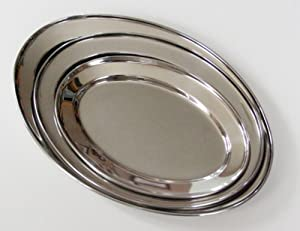 3 Pc. Stainless Steel Oval Serving Set 14 In, 16 In, 18 In by Libertyware
