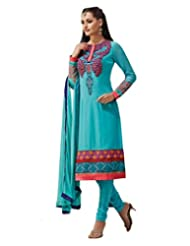 Inddus Exclusive Women Stylish Blue Embroidered Georgette Unstitched Dress Material With Chiffon Dupatta