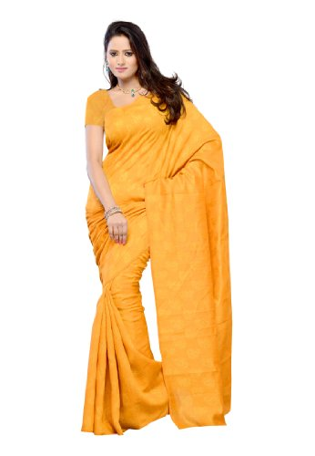Fabdeal Party Wear Yellow Silk Butta Embroidered Saree