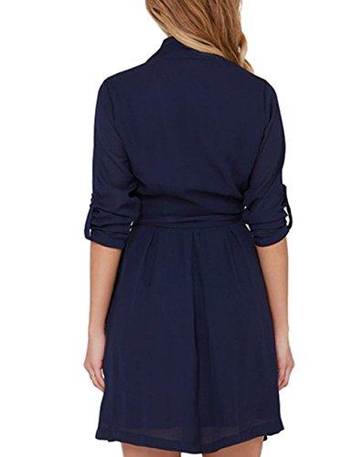 Leadingstar Women's Summer Casual V-neck Pure Color Medium Sleeve Slim Chiffon Dresses (Asian L)