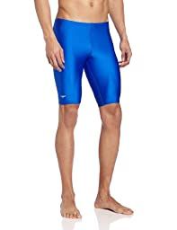 Speedo Men\'s PowerFLEX Eco Solid Jammer Swimsuit, Sapphire, 30