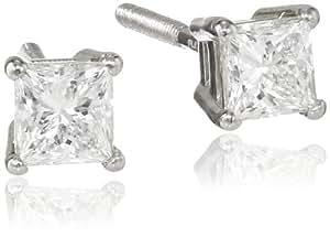 IGI Certified Platinum Princess-Cut Diamond Stud Earrings (3/4 cttw, H-I Color, VS1-VS2)
