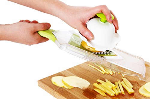 Mandoline Slicer For Kitchen - Vegetable Slicer & Japanese Julienne - Professional Hand-Held Stainless Steel For French Fry Cutter - Potato & Apple Slicer - Chopper FREE Cut Resistant Glove & E-Book (Mandolin French Fries compare prices)