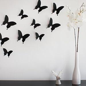 Wandkings papillons dans un style 3d de couleur noir for Decoration murale papillon 3d noir