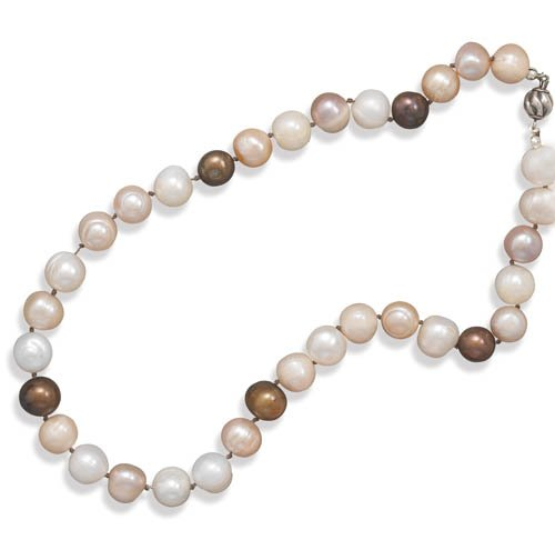 16 Inch Earth Tone Colored 10mm Cultured Freshwater Pearl Knotted Necklace