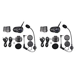 shkmhf6 motorcycle voice dial Bluetooth intercom headsets (set of 2) - Full Duplex Bluetooth Handsfree Intercom Communication