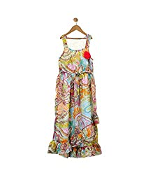 Budding Bees Girls Red Printed Maxi Dress
