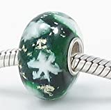 (Free Shipping) Let it Snow! Snowflakes in a Dark Green European Murano Style Glass Bead Charm with