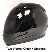 Motorcycle Street Bike Glossy Black Full Face Helmet + Two Visors: Smoked & Clear from Power Gear Motorsports